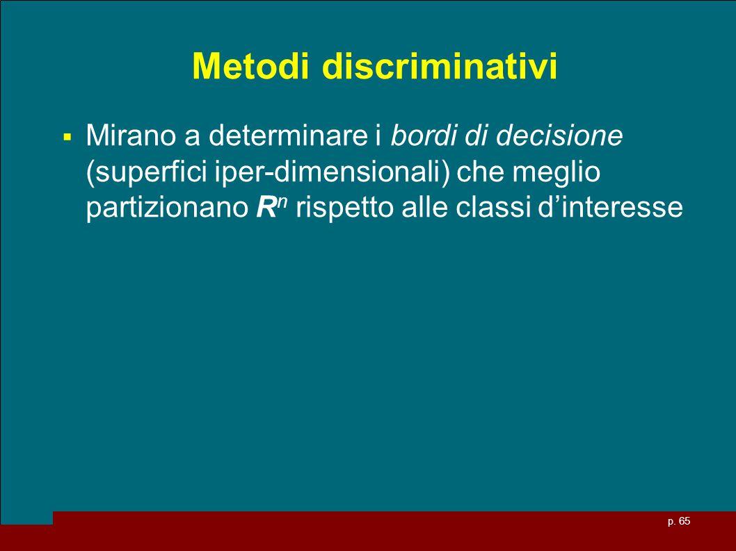 p. 65 Metodi discriminativi Mirano a determinare i bordi di decisione (superfici iper-dimensionali) che meglio partizionano R n rispetto alle classi d
