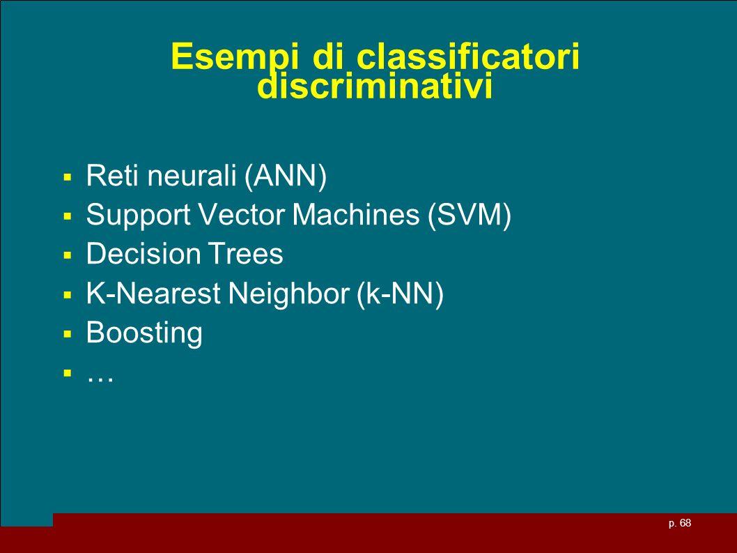 p. 68 Esempi di classificatori discriminativi Reti neurali (ANN) Support Vector Machines (SVM) Decision Trees K-Nearest Neighbor (k-NN) Boosting …