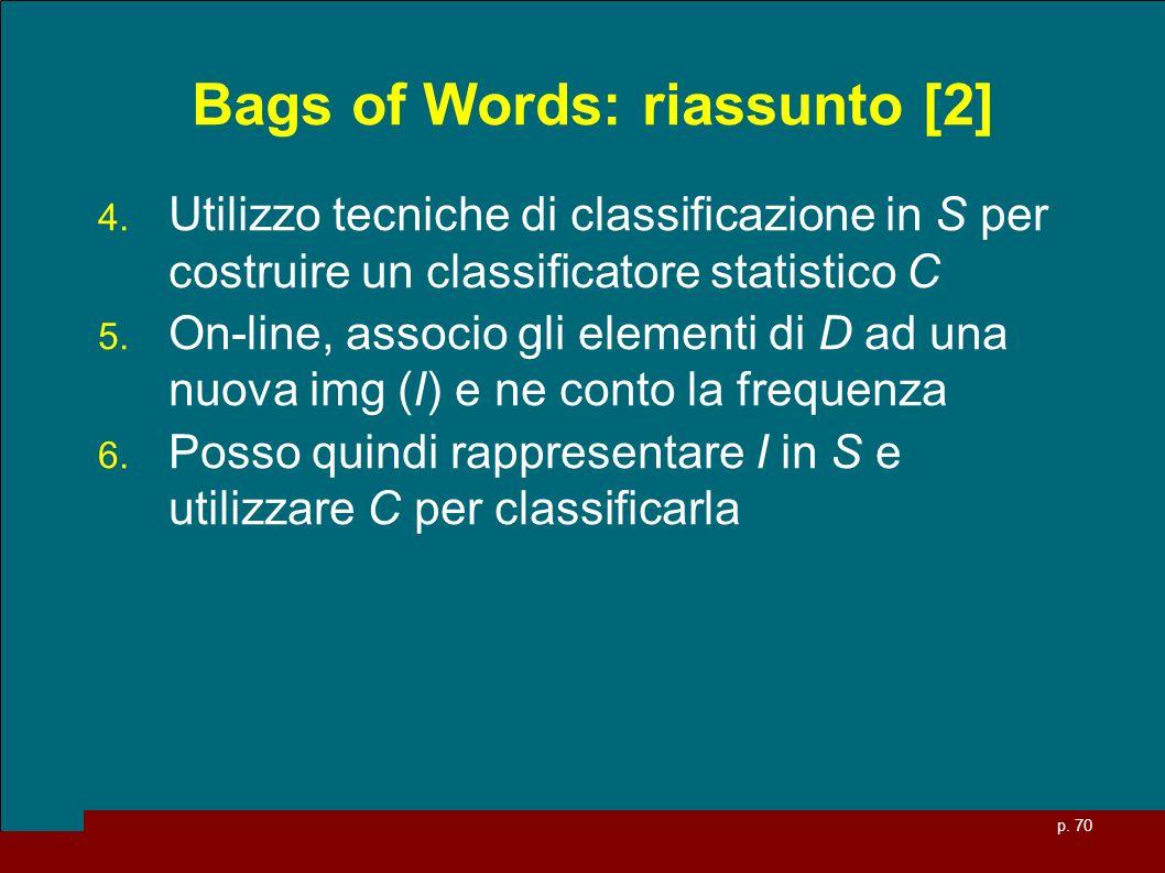 p. 70 Bags of Words: riassunto [2] 4. Utilizzo tecniche di classificazione in S per costruire un classificatore statistico C 5. On-line, associo gli e