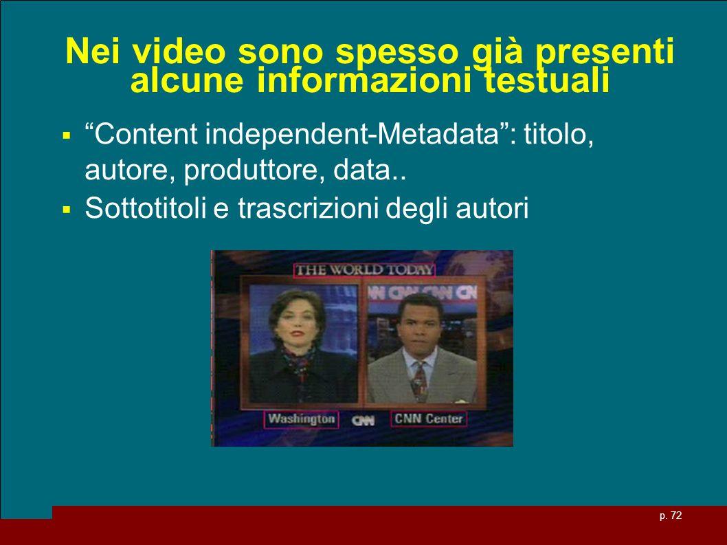 p. 72 Nei video sono spesso già presenti alcune informazioni testuali Content independent-Metadata: titolo, autore, produttore, data.. Sottotitoli e t