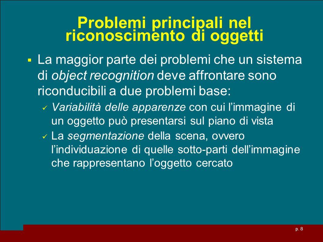 p. 8 Problemi principali nel riconoscimento di oggetti La maggior parte dei problemi che un sistema di object recognition deve affrontare sono ricondu