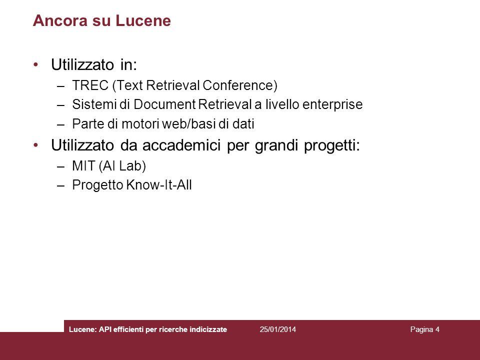 25/01/2014Lucene: API efficienti per ricerche indicizzatePagina 4 Ancora su Lucene Utilizzato in: –TREC (Text Retrieval Conference) –Sistemi di Docume