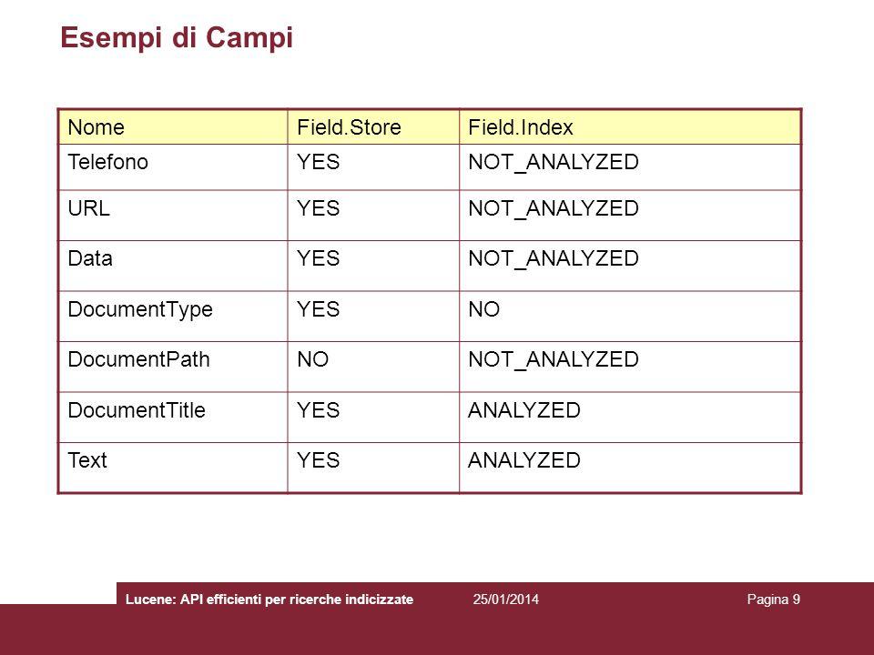 25/01/2014Lucene: API efficienti per ricerche indicizzatePagina 9 Esempi di Campi NomeField.StoreField.Index TelefonoYESNOT_ANALYZED URLYESNOT_ANALYZE