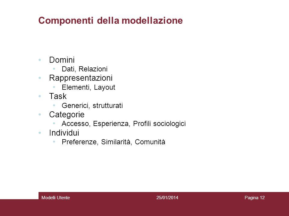 25/01/2014Modelli UtentePagina 12 Componenti della modellazione Domini Dati, Relazioni Rappresentazioni Elementi, Layout Task Generici, strutturati Categorie Accesso, Esperienza, Profili sociologici Individui Preferenze, Similarità, Comunità