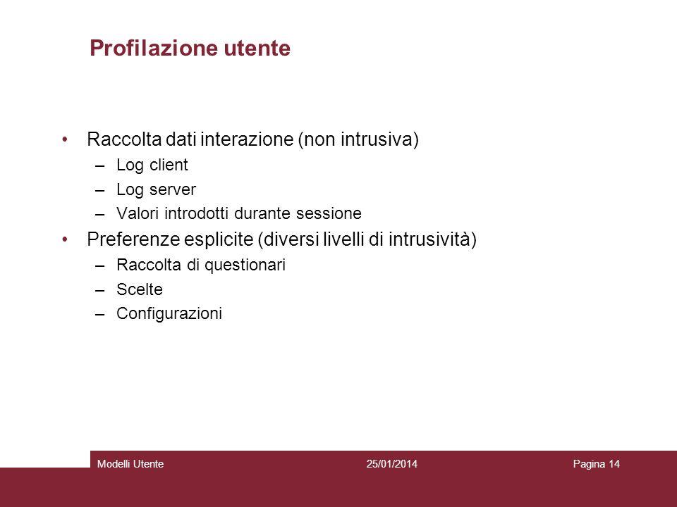 25/01/2014Modelli UtentePagina 14 Profilazione utente Raccolta dati interazione (non intrusiva) –Log client –Log server –Valori introdotti durante ses