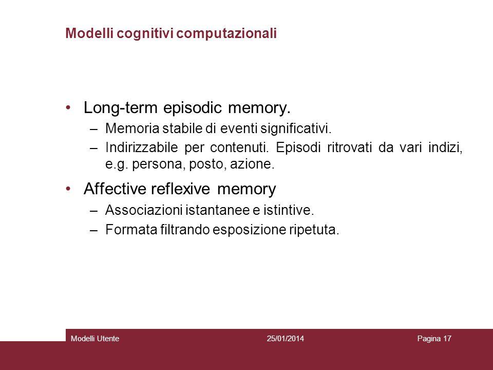 25/01/2014Modelli UtentePagina 17 Modelli cognitivi computazionali Long-term episodic memory. –Memoria stabile di eventi significativi. –Indirizzabile