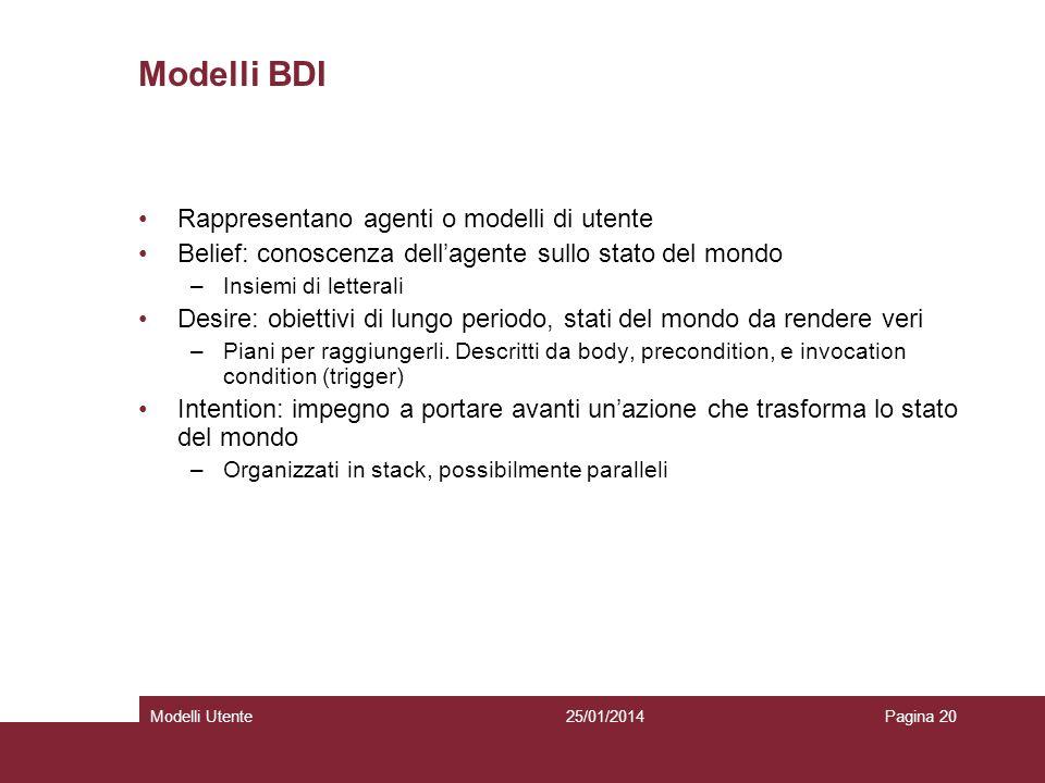 25/01/2014Modelli UtentePagina 20 Modelli BDI Rappresentano agenti o modelli di utente Belief: conoscenza dellagente sullo stato del mondo –Insiemi di