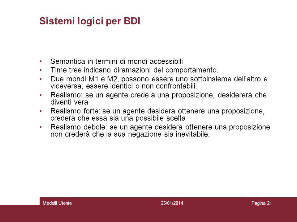 25/01/2014Modelli UtentePagina 21 Sistemi logici per BDI Semantica in termini di mondi accessibili Time tree indicano diramazioni del comportamento.