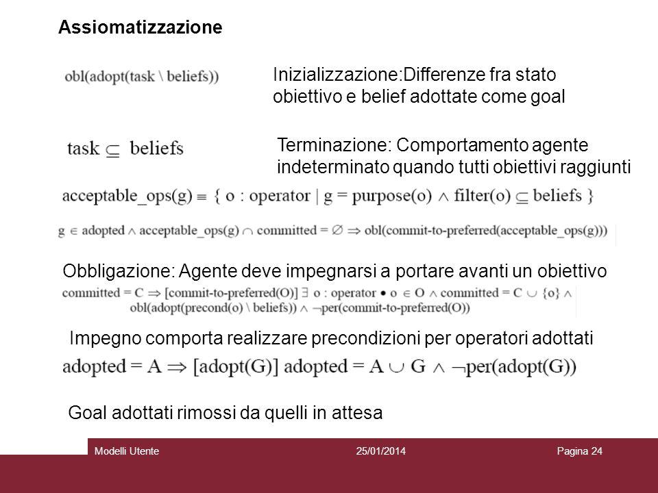25/01/2014Modelli UtentePagina 24 Assiomatizzazione Inizializzazione:Differenze fra stato obiettivo e belief adottate come goal Terminazione: Comporta