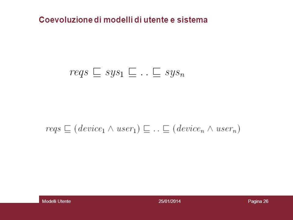 25/01/2014Modelli UtentePagina 26 Coevoluzione di modelli di utente e sistema