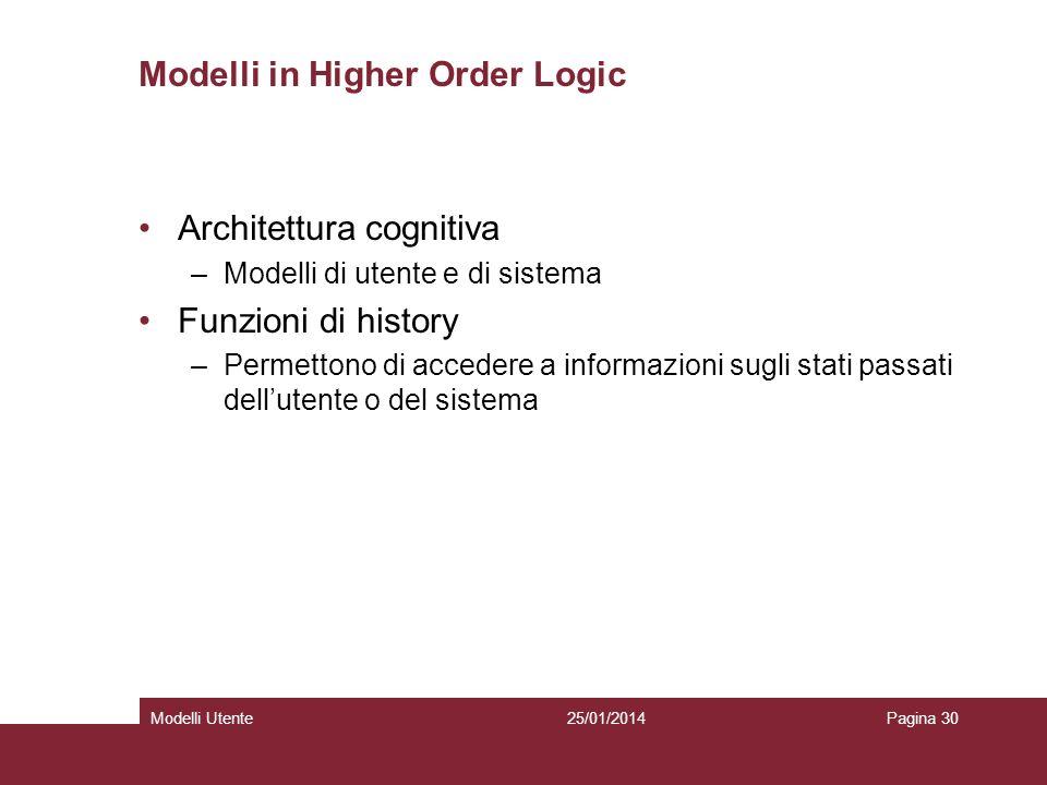 25/01/2014Modelli UtentePagina 30 Modelli in Higher Order Logic Architettura cognitiva –Modelli di utente e di sistema Funzioni di history –Permettono di accedere a informazioni sugli stati passati dellutente o del sistema