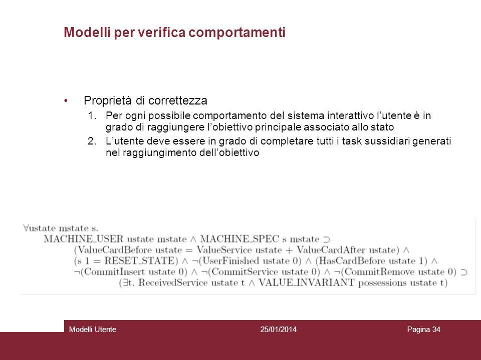 25/01/2014Modelli UtentePagina 34 Modelli per verifica comportamenti Proprietà di correttezza 1.Per ogni possibile comportamento del sistema interatti