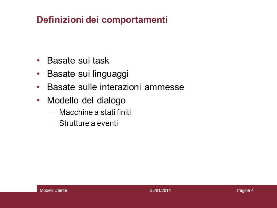 25/01/2014Modelli UtentePagina 4 Definizioni dei comportamenti Basate sui task Basate sui linguaggi Basate sulle interazioni ammesse Modello del dialogo –Macchine a stati finiti –Strutture a eventi