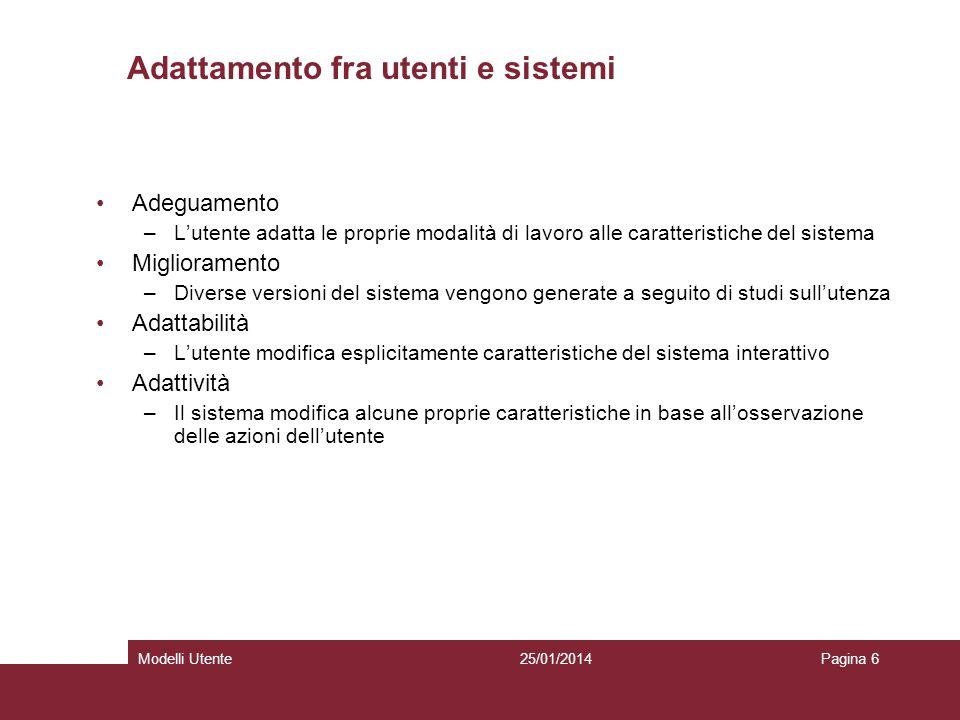 25/01/2014Modelli UtentePagina 6 Adattamento fra utenti e sistemi Adeguamento –Lutente adatta le proprie modalità di lavoro alle caratteristiche del s