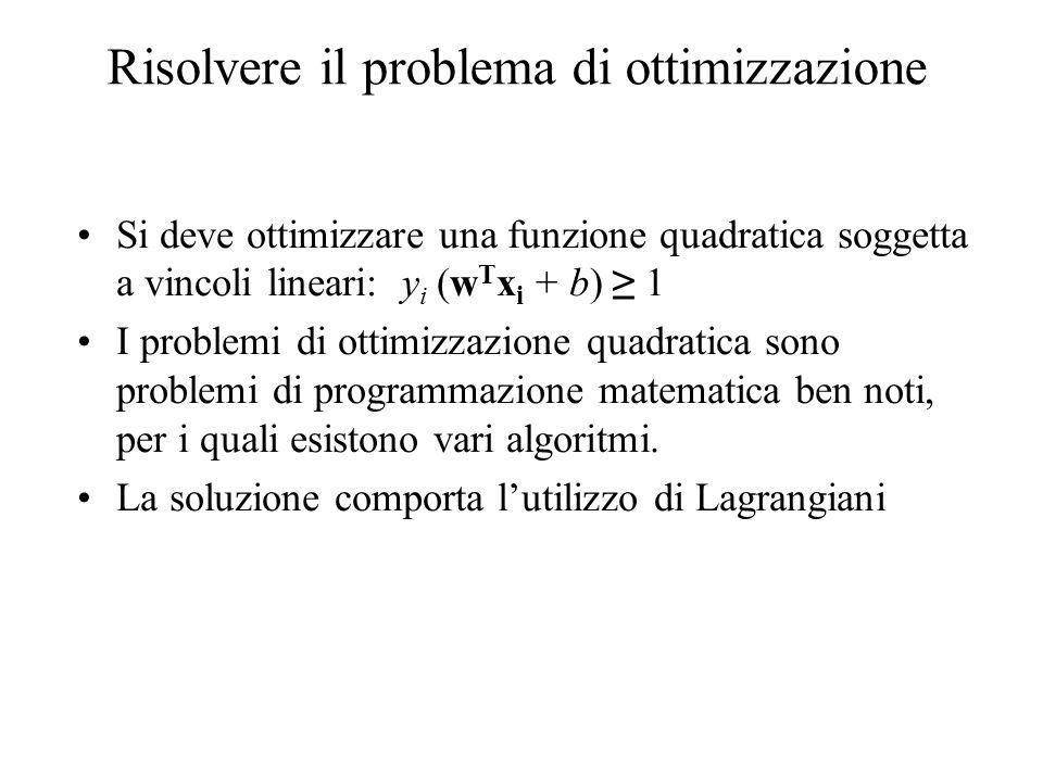 Risolvere il problema di ottimizzazione Si deve ottimizzare una funzione quadratica soggetta a vincoli lineari: y i (w T x i + b) 1 I problemi di ottimizzazione quadratica sono problemi di programmazione matematica ben noti, per i quali esistono vari algoritmi.