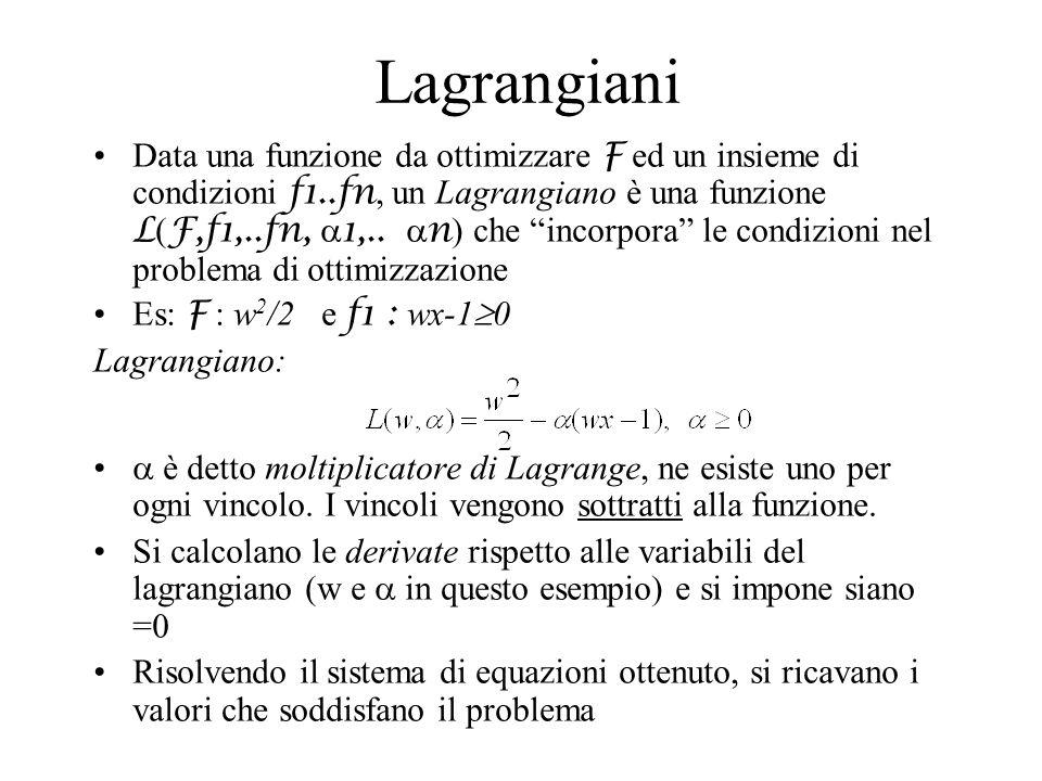 Lagrangiani Data una funzione da ottimizzare F ed un insieme di condizioni f1..fn, un Lagrangiano è una funzione L ( F,f1,..fn, 1,.. n ) che incorpora