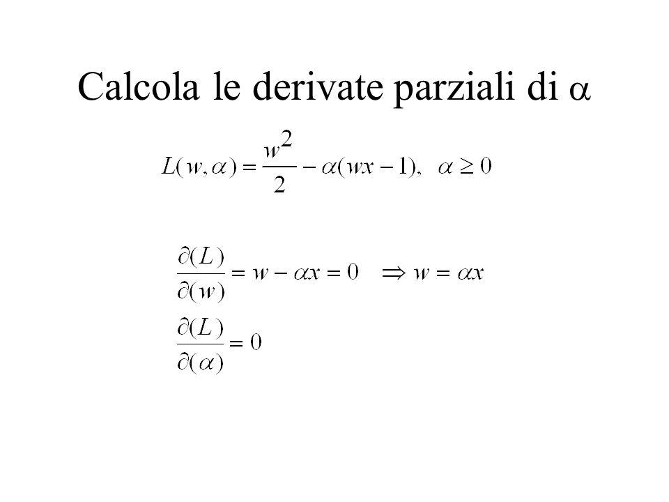 Calcola le derivate parziali di