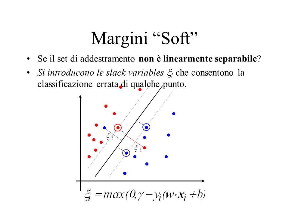 Margini Soft Se il set di addestramento non è linearmente separabile? Si introducono le slack variables i che consentono la classificazione errata di
