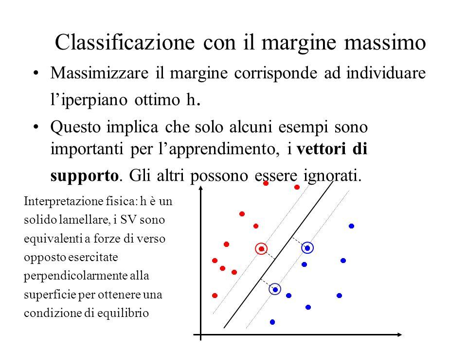 Classificazione con il margine massimo Massimizzare il margine corrisponde ad individuare liperpiano ottimo h. Questo implica che solo alcuni esempi s