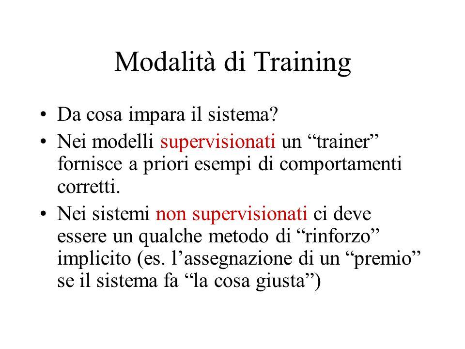 Modalità di Training Da cosa impara il sistema? Nei modelli supervisionati un trainer fornisce a priori esempi di comportamenti corretti. Nei sistemi