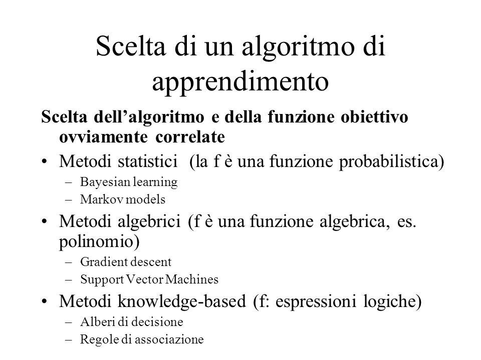 Scelta di un algoritmo di apprendimento Scelta dellalgoritmo e della funzione obiettivo ovviamente correlate Metodi statistici (la f è una funzione pr