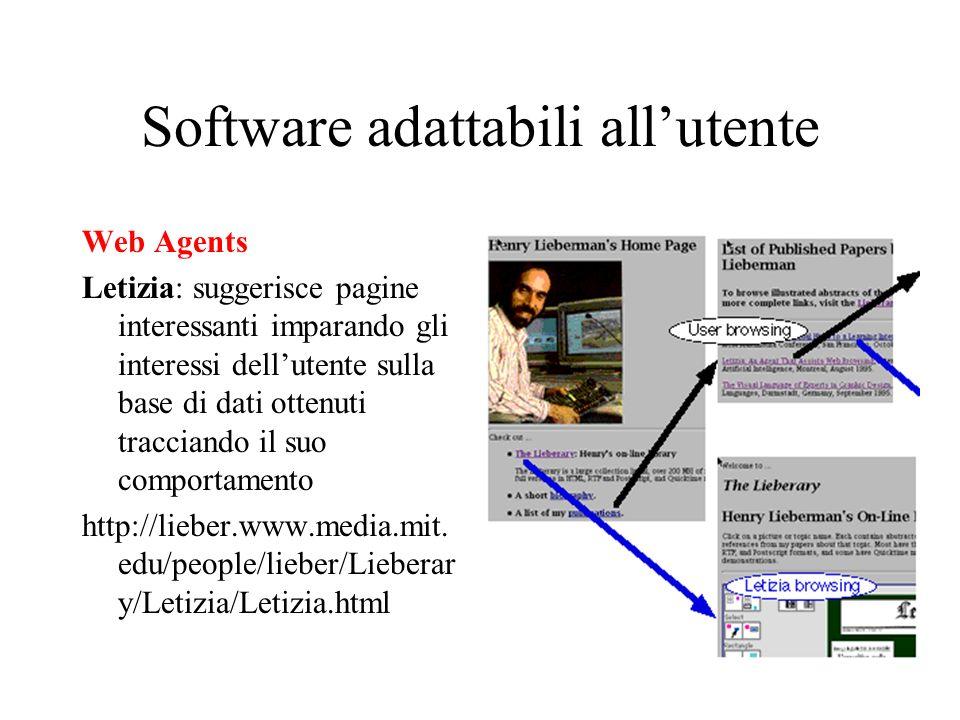 Software adattabili allutente Web Agents Letizia: suggerisce pagine interessanti imparando gli interessi dellutente sulla base di dati ottenuti tracci