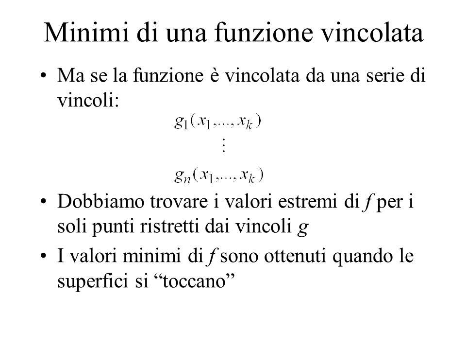 Minimi di una funzione vincolata Ma se la funzione è vincolata da una serie di vincoli: Dobbiamo trovare i valori estremi di f per i soli punti ristre