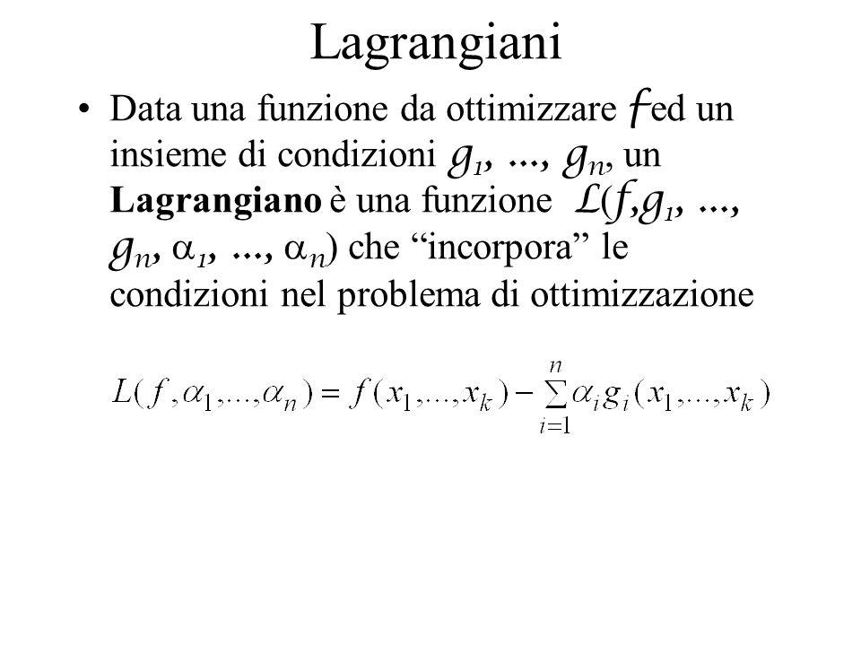 Lagrangiani Data una funzione da ottimizzare f ed un insieme di condizioni g 1,..., g n, un Lagrangiano è una funzione L ( f,g 1,..., g n, 1,..., n )