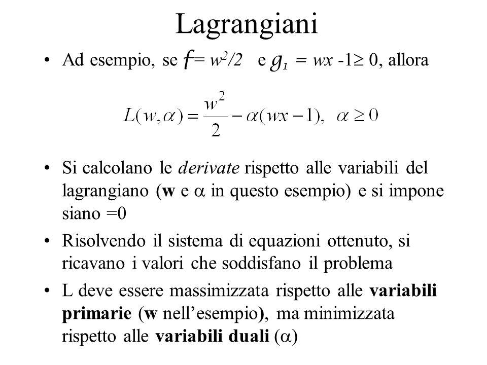Lagrangiani Ad esempio, se f = w 2 /2 e g 1 = wx -1 0, allora Si calcolano le derivate rispetto alle variabili del lagrangiano (w e in questo esempio)