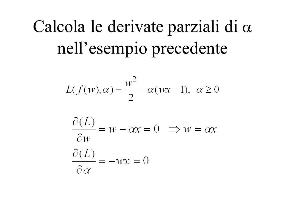 Calcola le derivate parziali di nellesempio precedente