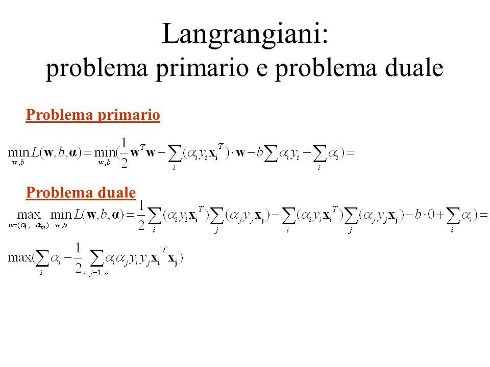 Langrangiani: problema primario e problema duale Problema duale Problema primario