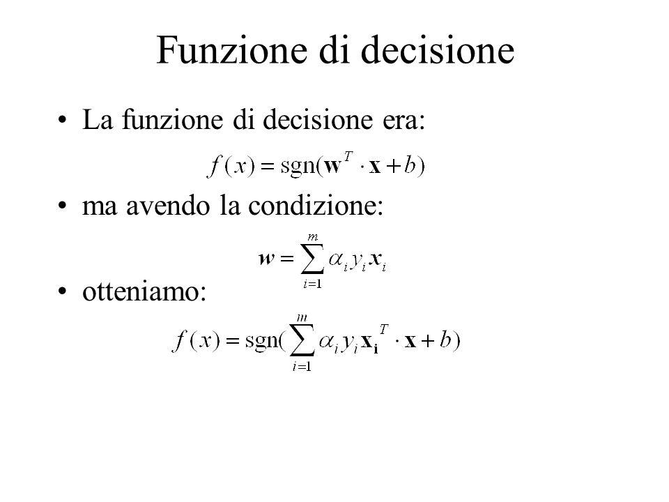 Funzione di decisione La funzione di decisione era: ma avendo la condizione: otteniamo: