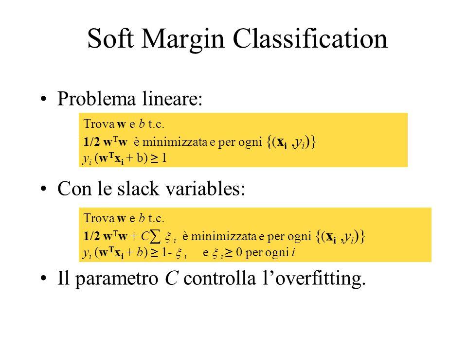 Soft Margin Classification Problema lineare: Con le slack variables: Il parametro C controlla loverfitting. Trova w e b t.c. 1/2 w T w è minimizzata e