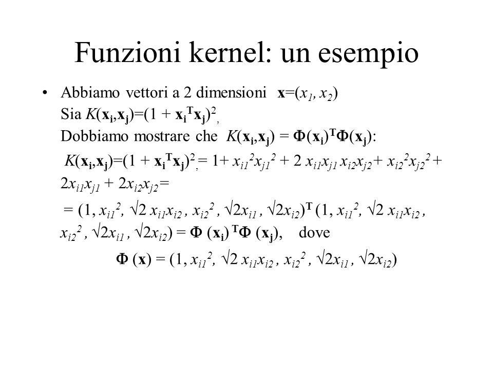 Funzioni kernel: un esempio Abbiamo vettori a 2 dimensioni x=(x 1, x 2 ) Sia K(x i,x j )=(1 + x i T x j ) 2, Dobbiamo mostrare che K(x i,x j ) = (x i