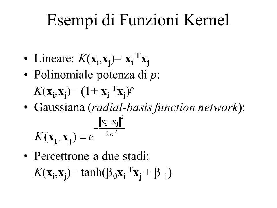 Esempi di Funzioni Kernel Lineare: K(x i,x j )= x i T x j Polinomiale potenza di p: K(x i,x j )= (1+ x i T x j ) p Gaussiana (radial-basis function ne