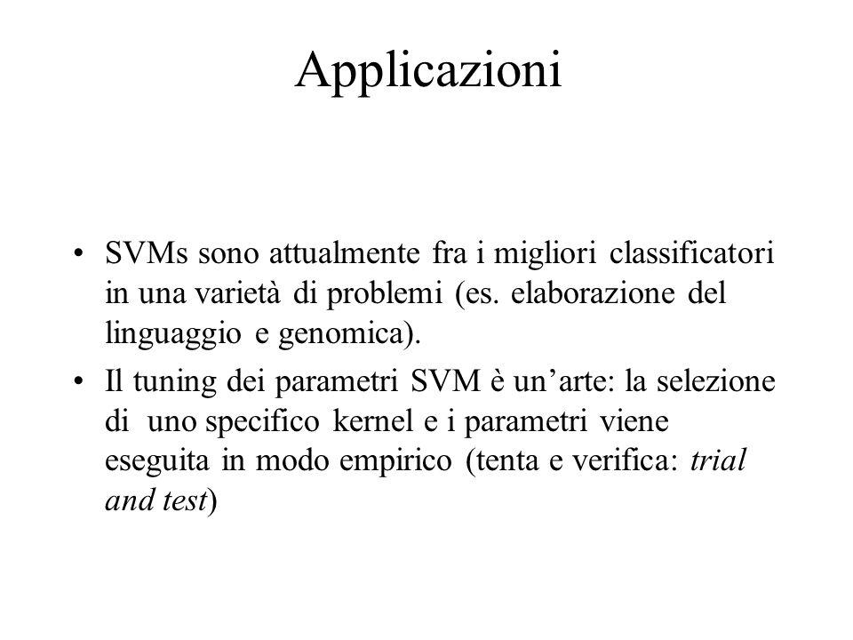 Applicazioni SVMs sono attualmente fra i migliori classificatori in una varietà di problemi (es. elaborazione del linguaggio e genomica). Il tuning de