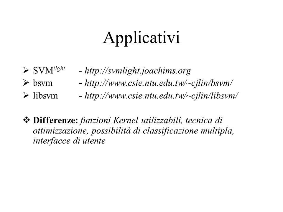 Applicativi SVM light - http://svmlight.joachims.org bsvm - http://www.csie.ntu.edu.tw/~cjlin/bsvm/ libsvm - http://www.csie.ntu.edu.tw/~cjlin/libsvm/