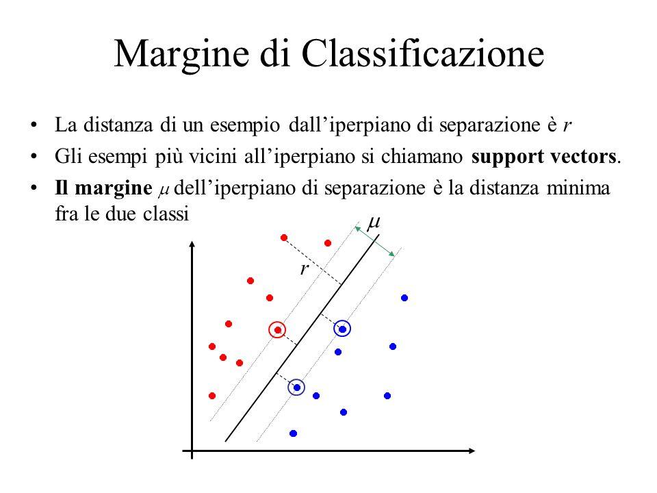 Classificazione con il margine massimo Massimizzare il margine corrisponde ad individuare liperpiano ottimo h Questo implica che solo alcuni esempi sono importanti per lapprendimento, i vettori di supporto.
