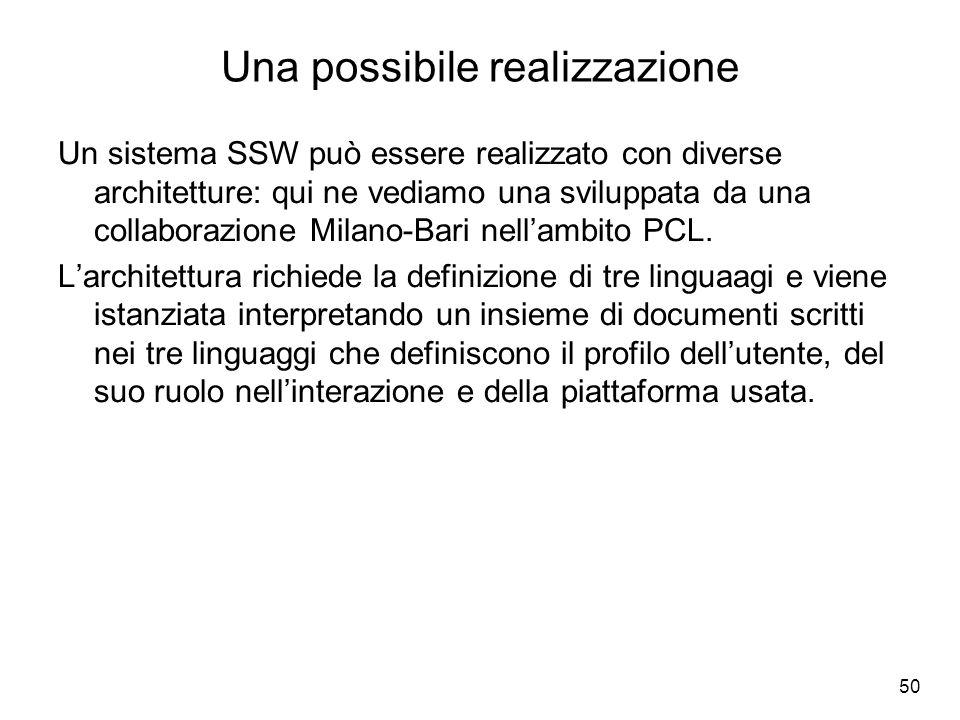 50 Una possibile realizzazione Un sistema SSW può essere realizzato con diverse architetture: qui ne vediamo una sviluppata da una collaborazione Mila