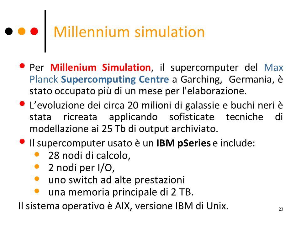 Millennium simulation Per Millenium Simulation, il supercomputer del Max Planck Supercomputing Centre a Garching, Germania, è stato occupato più di un