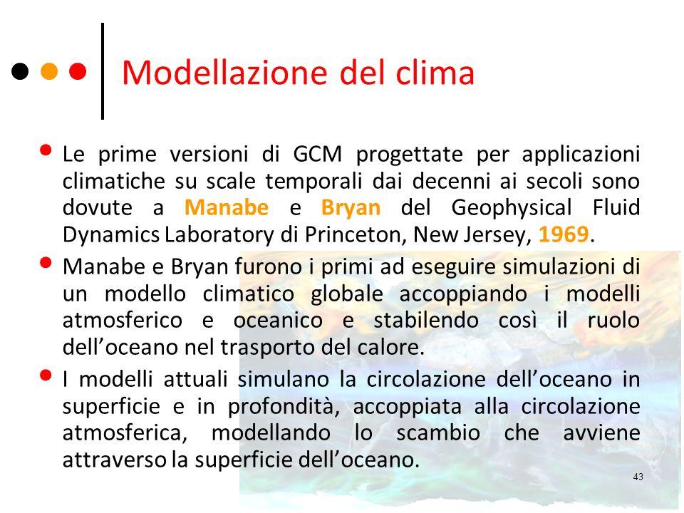 Modellazione del clima Le prime versioni di GCM progettate per applicazioni climatiche su scale temporali dai decenni ai secoli sono dovute a Manabe e