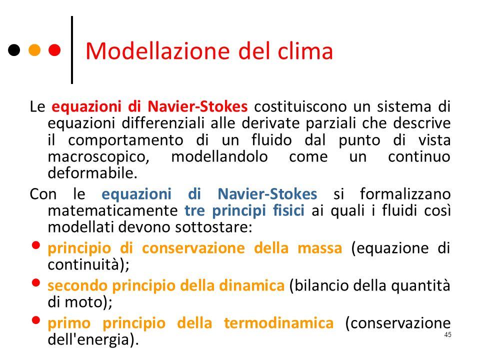 Modellazione del clima Le equazioni di Navier-Stokes costituiscono un sistema di equazioni differenziali alle derivate parziali che descrive il compor