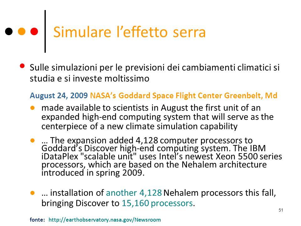 Sulle simulazioni per le previsioni dei cambiamenti climatici si studia e si investe moltissimo August 24, 2009 NASAs Goddard Space Flight Center Gree