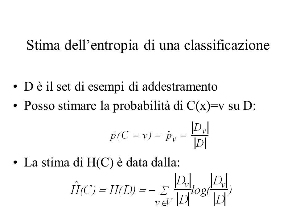 Stima dellentropia di una classificazione D è il set di esempi di addestramento Posso stimare la probabilità di C(x)=v su D: La stima di H(C) è data d