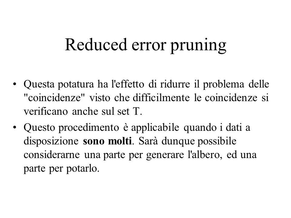 Reduced error pruning Questa potatura ha l'effetto di ridurre il problema delle