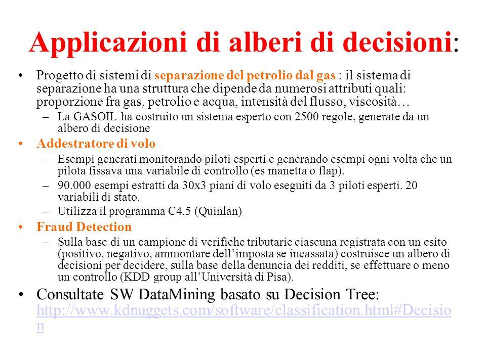 Applicazioni di alberi di decisioni: Progetto di sistemi di separazione del petrolio dal gas : il sistema di separazione ha una struttura che dipende