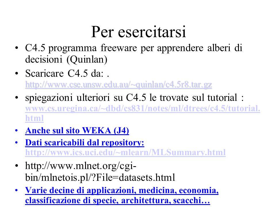 Per esercitarsi C4.5 programma freeware per apprendere alberi di decisioni (Quinlan) http://www.cse.unsw.edu.au/~quinlan/c4.5r8.tar.gz http://www.cse.