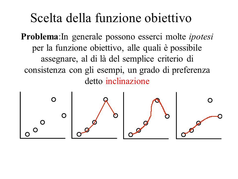 Problema:In generale possono esserci molte ipotesi per la funzione obiettivo, alle quali è possibile assegnare, al di là del semplice criterio di consistenza con gli esempi, un grado di preferenza detto inclinazione Scelta della funzione obiettivo