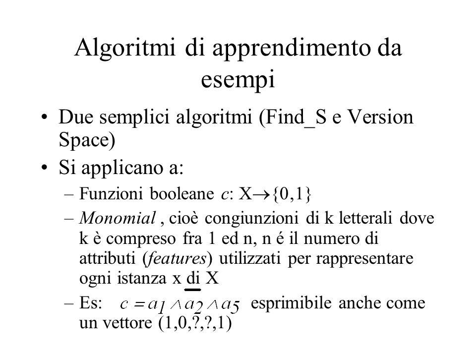 Algoritmi di apprendimento da esempi Due semplici algoritmi (Find_S e Version Space) Si applicano a: –Funzioni booleane c: X {01} –Monomial, cioè congiunzioni di k letterali dove k è compreso fra 1 ed n, n é il numero di attributi (features) utilizzati per rappresentare ogni istanza x di X –Es: esprimibile anche come un vettore (1,0,?,?,1)