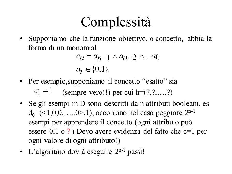 Complessità Supponiamo che la funzione obiettivo, o concetto, abbia la forma di un monomial Per esempio,supponiamo il concetto esatto sia (sempre vero!!) per cui h=(?,?,….?) Se gli esempi in D sono descritti da n attributi booleani, es d 0 =(,1), occorrono nel caso peggiore 2 n-1 esempi per apprendere il concetto (ogni attributo può essere 0,1 o .